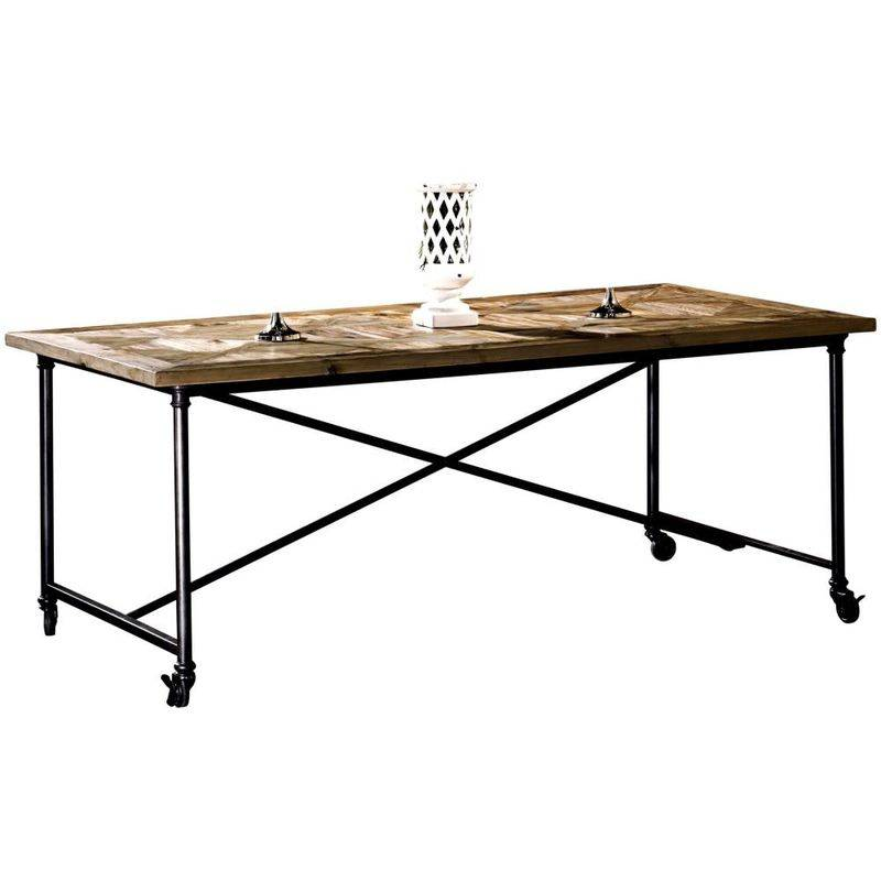 GUARNIERI Ancienne table en pin et fer sur roulett cm 200x100x78 Tiglio - Guarnieri