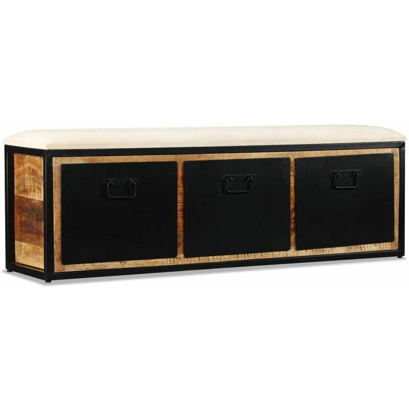Vidaxl - Banc de rangement avec 3 tiroirs Bois de manguier 120x30x40 cm