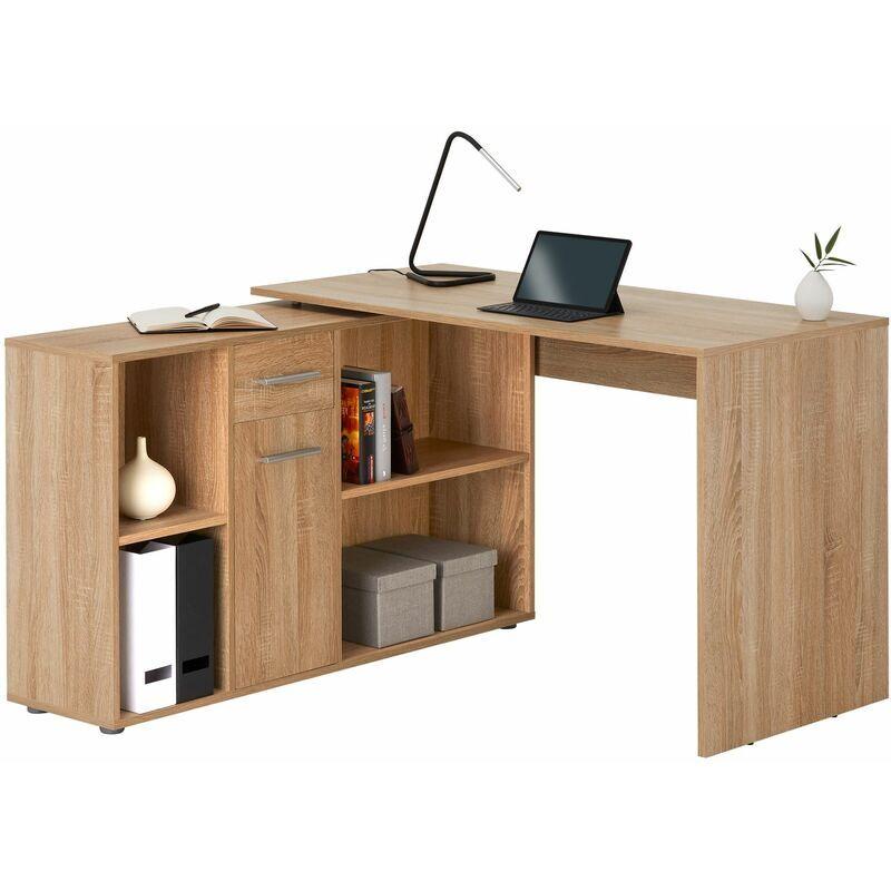 Idimex - Bureau d'angle CARMEN table avec meuble de rangement intégré et