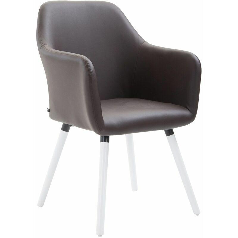 PAAL OFFICE FURNITURE Chaise de salle à manger Picard V2 similicuir marron Blanc