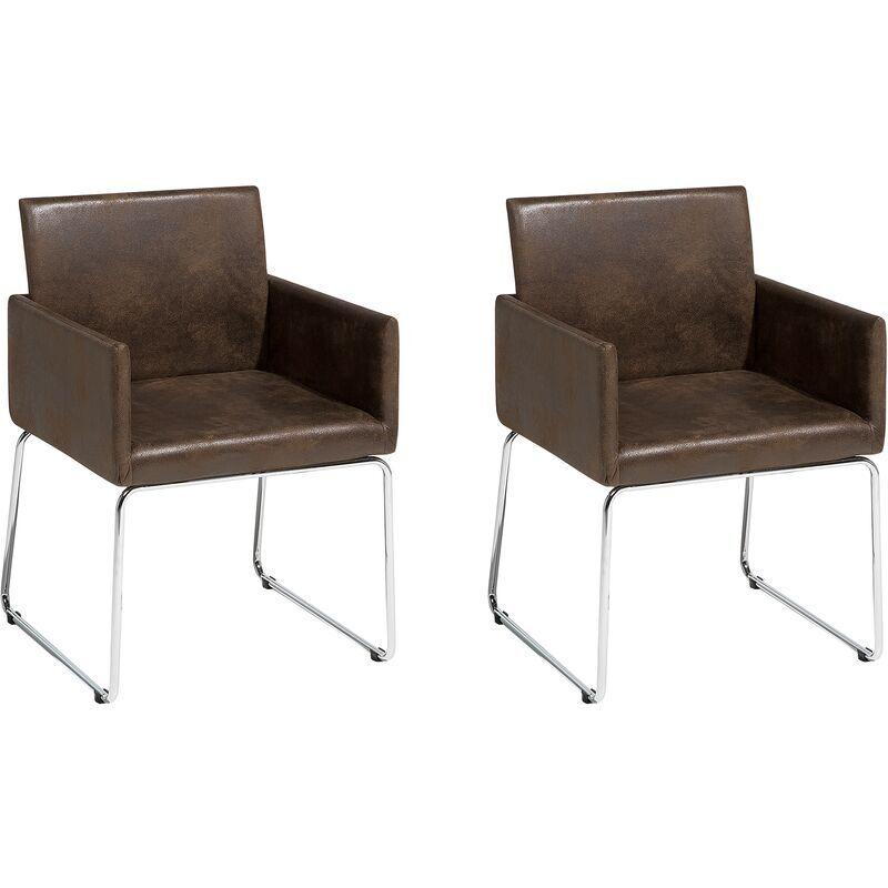 Beliani - Deux chaises de salle à manger en tissu marron foncé GOMEZ