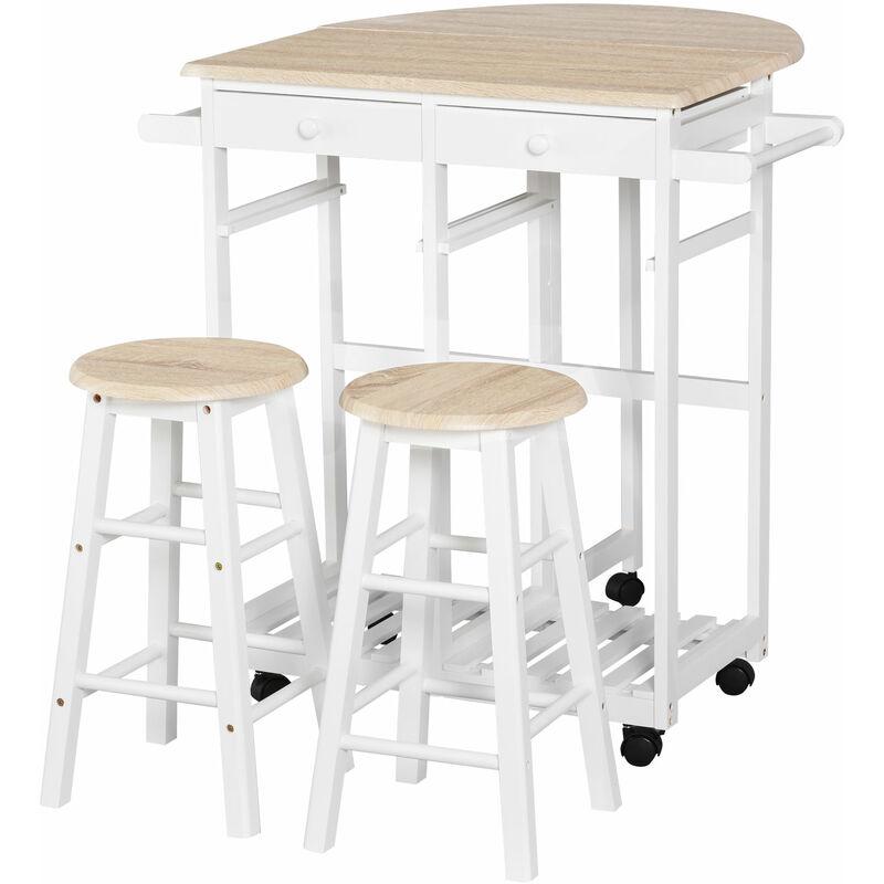 Homcom - Ensemble table de bar pliable sur roulettes avec étagère et 2 tiroirs