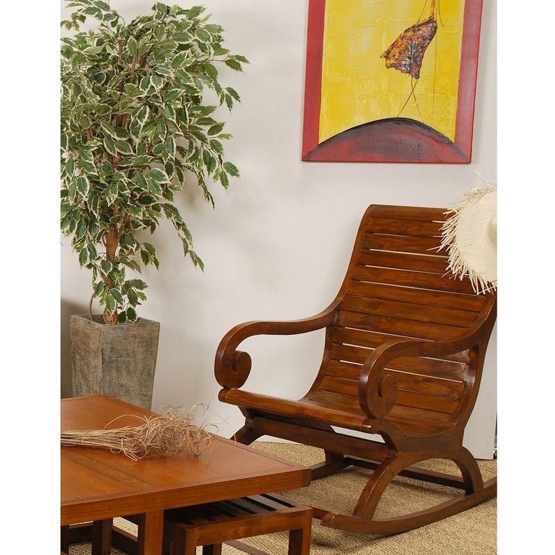 MACABANE Rocking chair bois mindi - chocolat