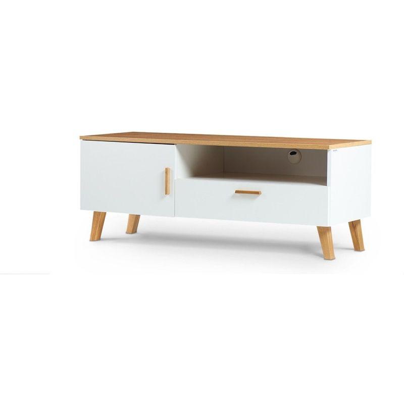 Hucoco - FRILI   Meuble TV style scandinave salon/séjour   125,5x48,5x46 cm