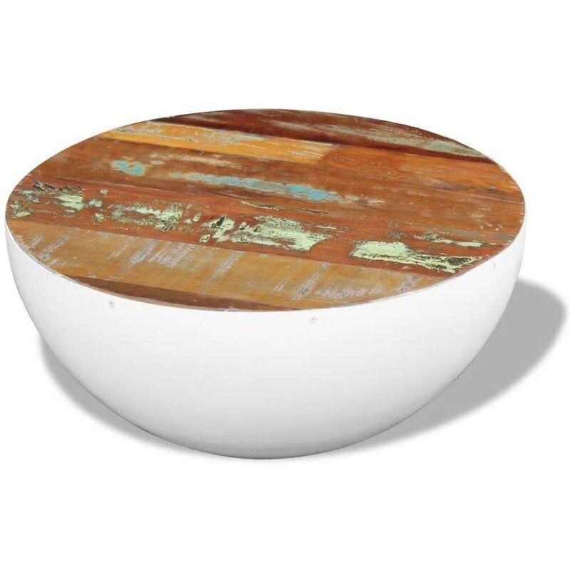 HOMMOO Table basse sous forme de bol Bois de récupération massif 60 x 60 x 30 cm