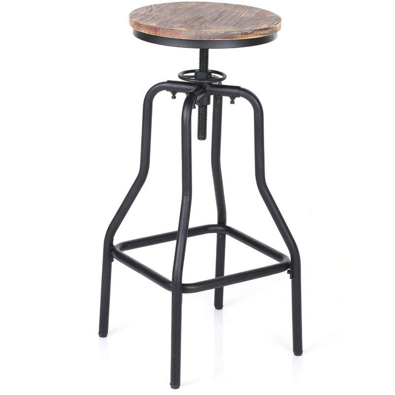 IKAYAA Tabouret de bar de style industriel en bois et acier - Ikayaa