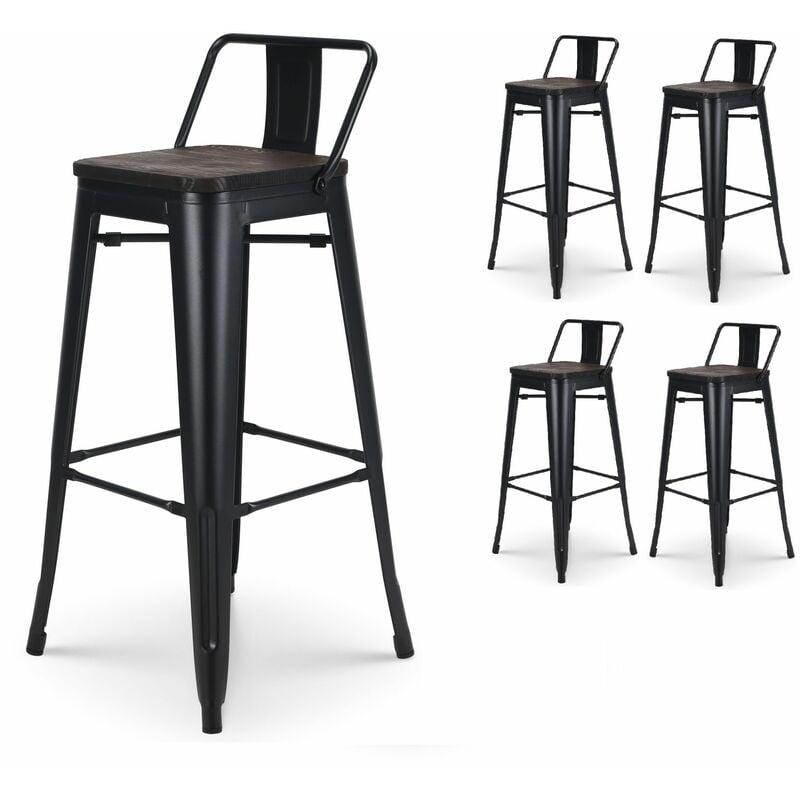 KOSMI - Lot de 4 Tabourets de bar en métal noir mat et assise en bois foncé