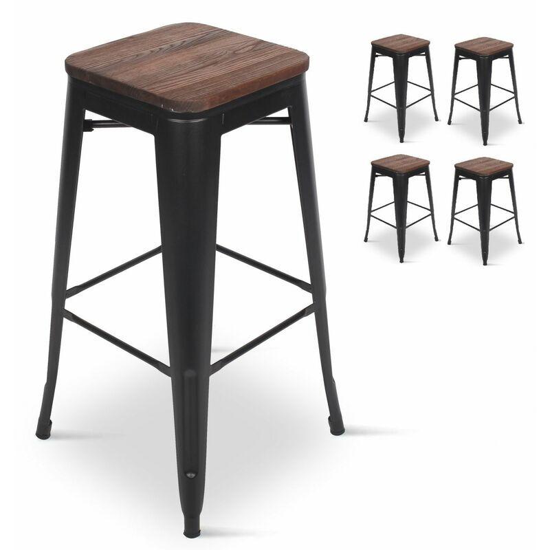 KOSMI Lot de 4 Tabourets de bar en métal noir mat et assise en bois foncé, Tabouret