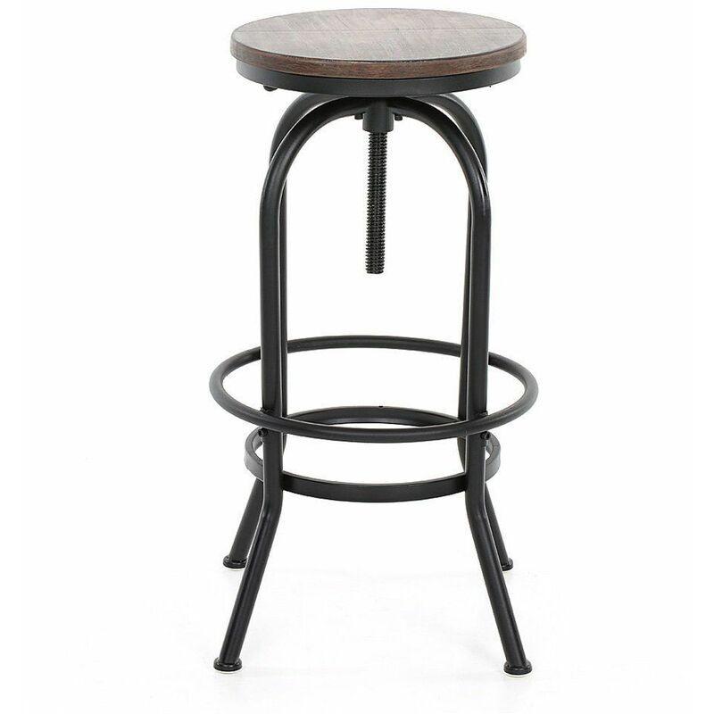 KOSMI - Tabouret de bar en métal noir mat et assise en bois foncé, Tabouret à