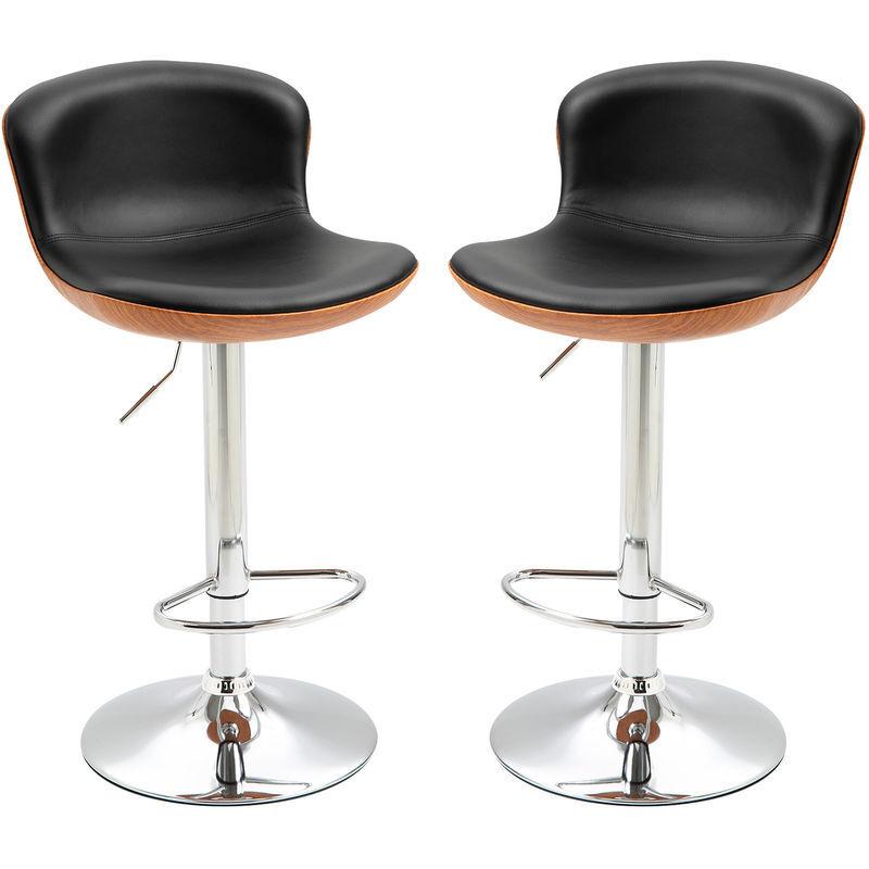 HOMCOM Lot de 2 tabouret de bar design contemporain hauteur d'assise réglable 64-85 cm
