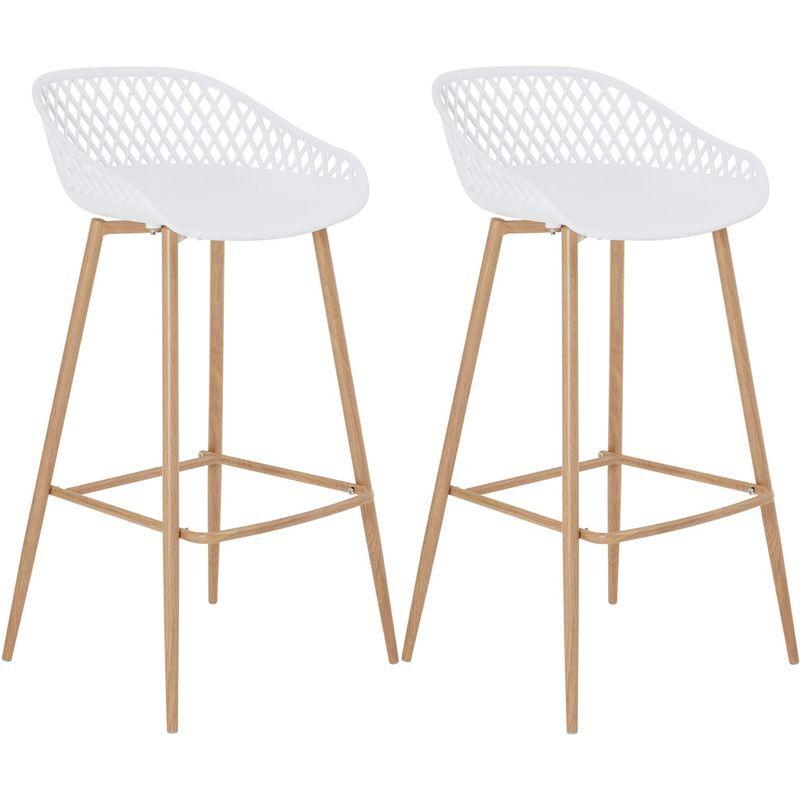 IDIMEX Lot de 2 tabourets de bar IREK chaise haute cuisine ou comptoir au design retro