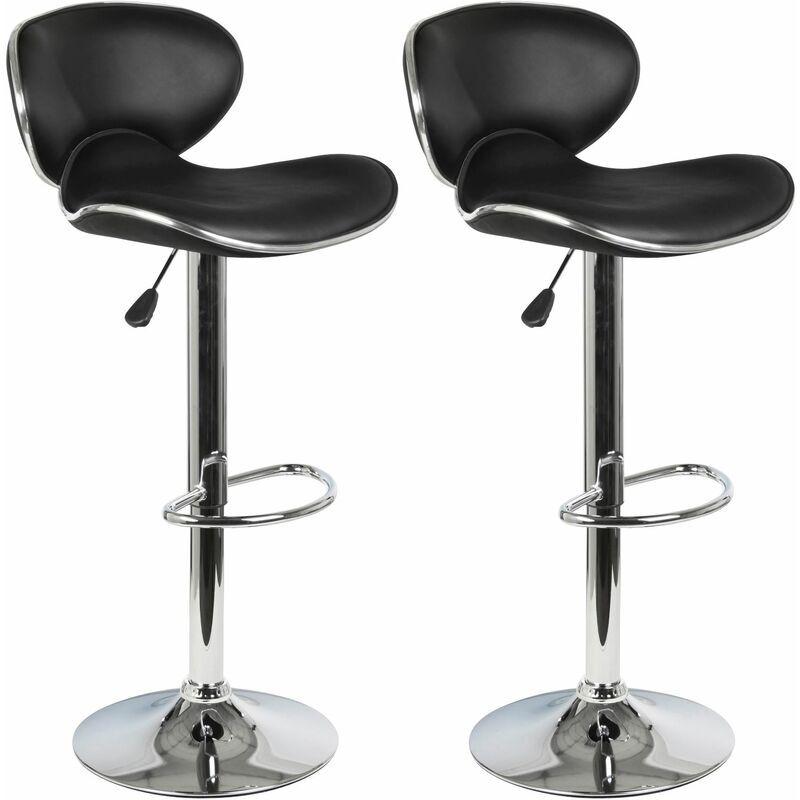 IDIMEX Lot de 2 tabourets de bar LOUNGE chaise haute pour cuisine/comptoir, réglable
