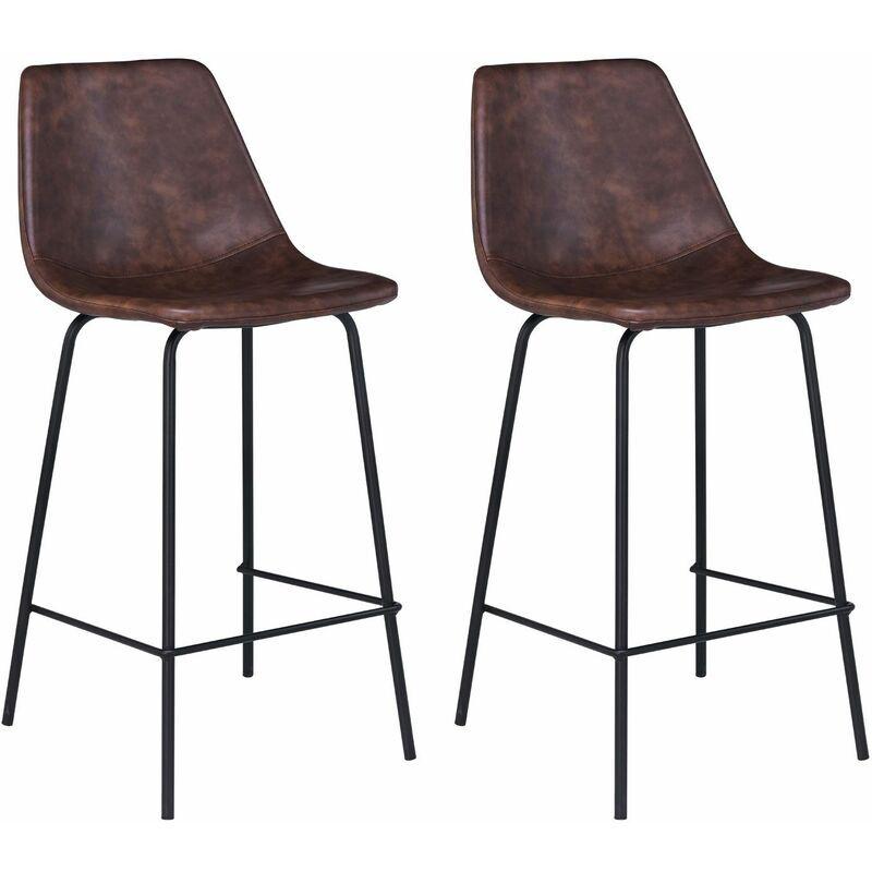 HAPPY GARDEN Lot de 2 tabourets de bar vintage LUCIEN marron - Hauteur d'assise 65cm - Marron