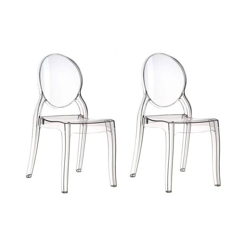 FASHION COMMERCE Lot de 2 chaises ghost en polycarbonate transparent avec dossier circulaire