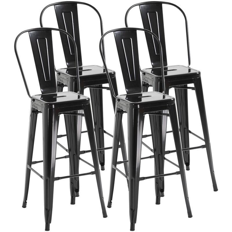 Homcom - Lot de 4 tabourets de bar industriel avec dossier hauteur assise 76,5