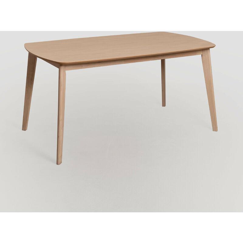 SKLUM Table à manger rectangulaire en bois d'Elbe Bois d'hévéa Marron Cendre - Marron