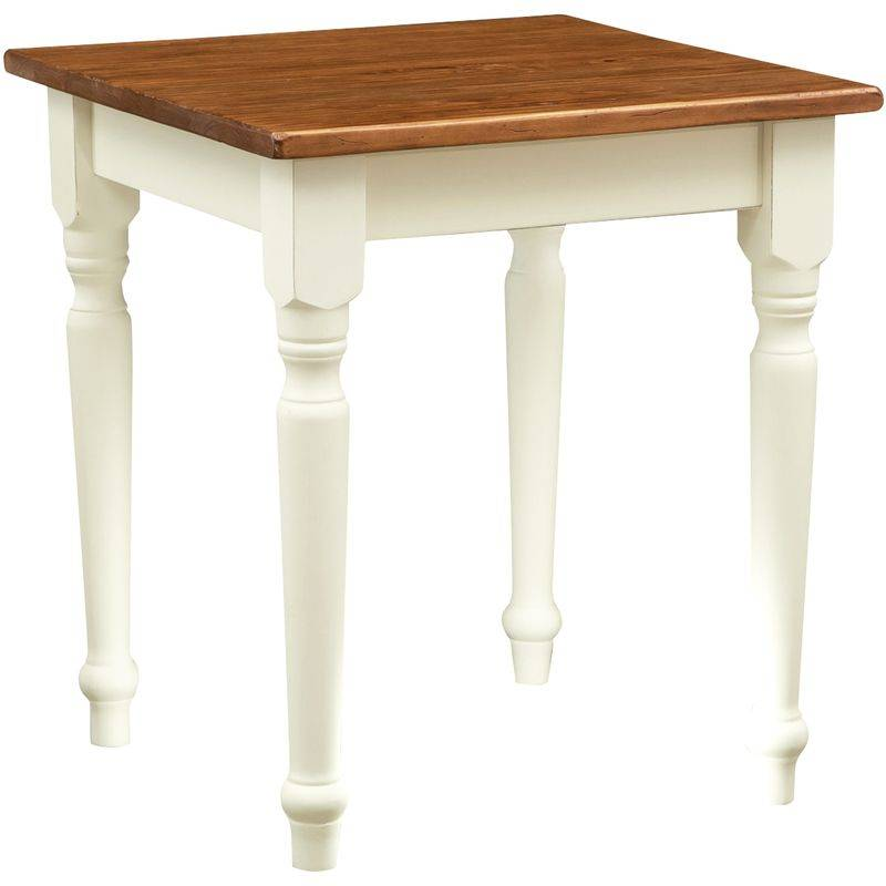 BISCOTTINI Table à rallonge style champêtre en bois massif structure blanche vieillie sur