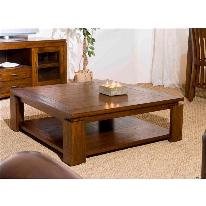 Macabane - Table basse bois sous plateau 90 x 90cm - Chocolat