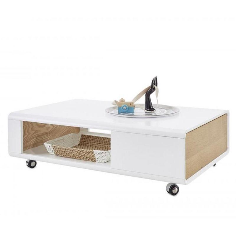 Inside75 - Table basse CORINTHE blanc laque mat et placage chêne 1 tiroir sur