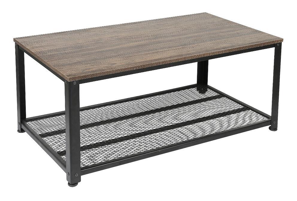 Jeobest - Table Basse Industrielle avec 2 Niveaux de Rangeme