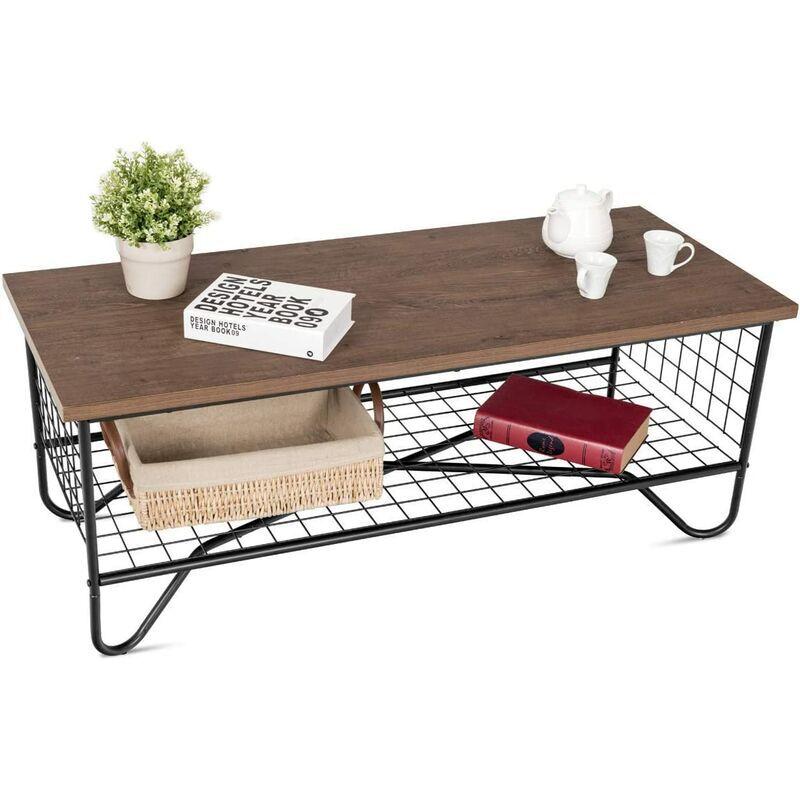 COSTWAY Table Basse Vintage et Industrielle en Métal et MDF avec Espace de