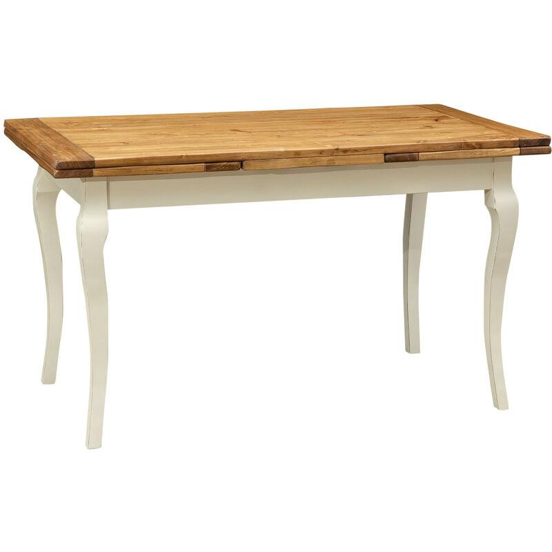 BISCOTTINI Table de style Country en bois massif de tilleul châssis blanche vieillie sur