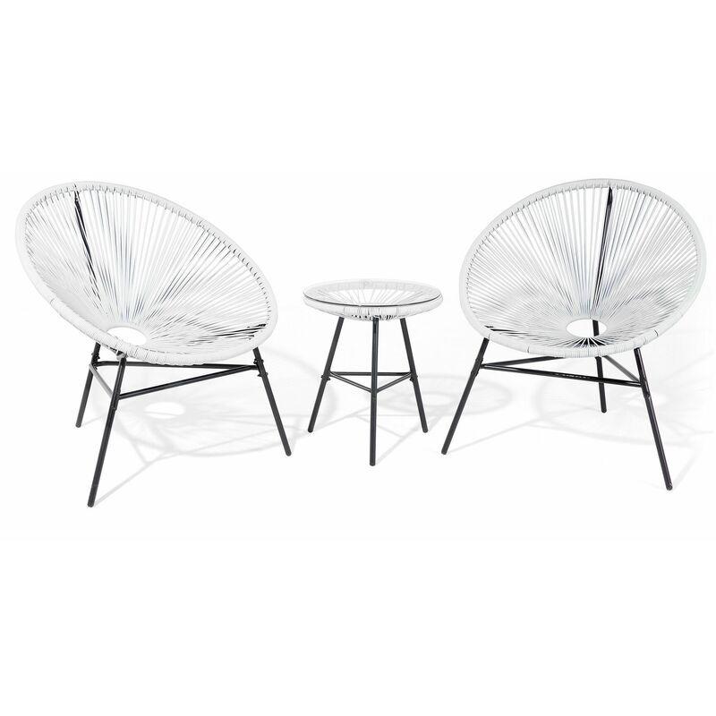 BELIANI 2 fauteuils spaghetti blancs et table pour intérieur et extérieur ACAPULCO
