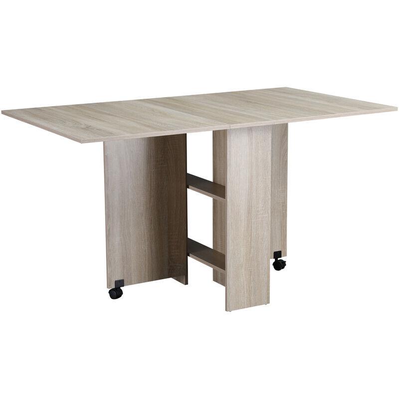 HOMCOM Table pliante de cuisine salle à manger amovible sur roulettes 140L x 80l x 74H