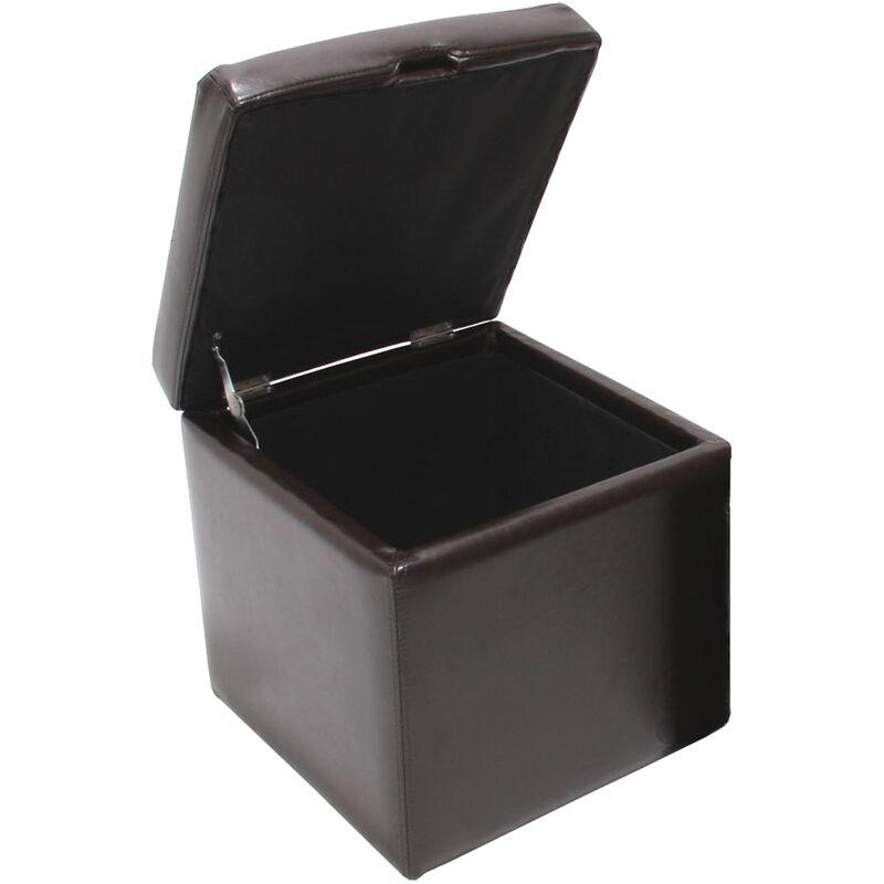 HHG - Tabouret cube, box de dépôt Onex, avec abattant, cuir, 45x44x44cm ~ marron