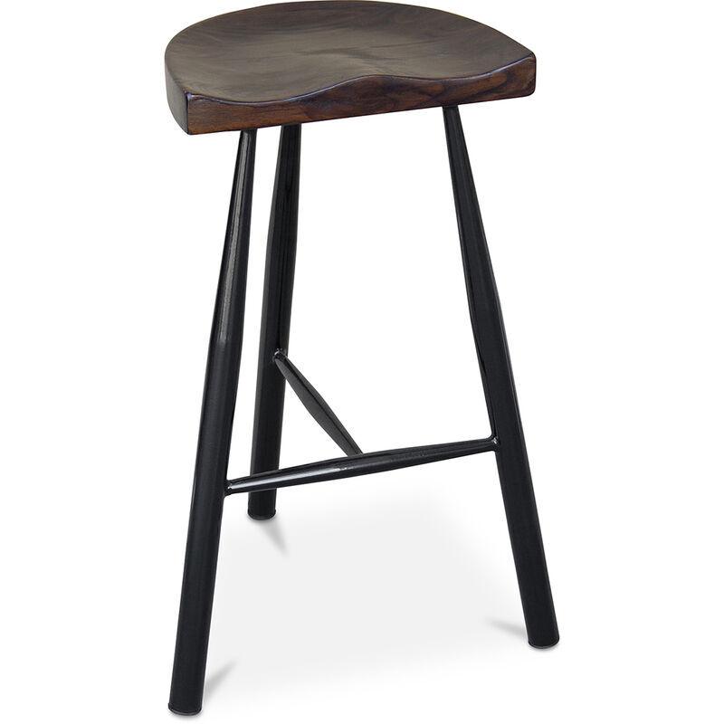 PRIVATEFLOOR Tabouret de bar Industriel 75 cm - Halona Noir