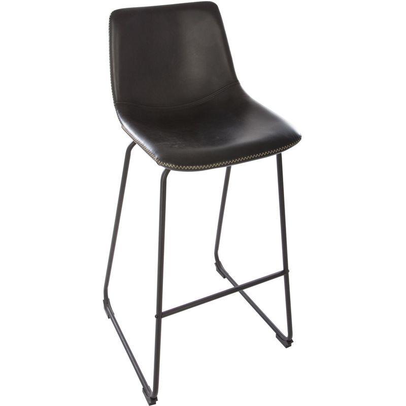 Atmosphera - Tabouret de bar industriel Lois - H. 101 cm - Noir - Noir