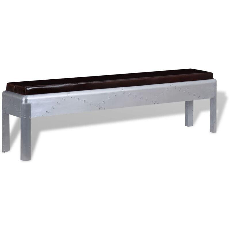 Vidaxl - Banc d'entrée Cuir véritable 160 x 32 x 45 cm