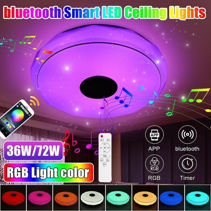 INSMA 34cm 36W moderne LED musique plafonnier RGB haut-parleur bluetooth plafonnier