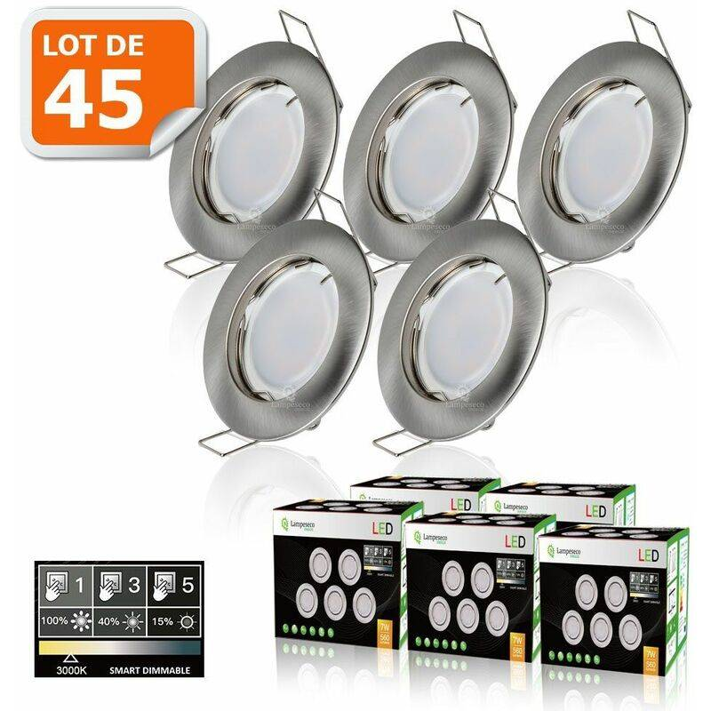 LAMPESECOENERGIE 45 SPOTS LED DIMMABLE SANS VARIATEUR 7W eq.56w BLANC CHAUD FINITION ALU BROSSE