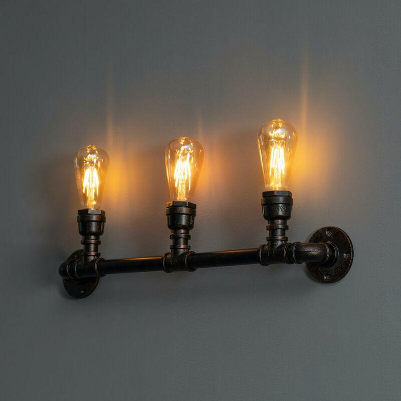 KOSILUM Applique industrielle 3 lumières large 64 cm - Jupiter - Rouille
