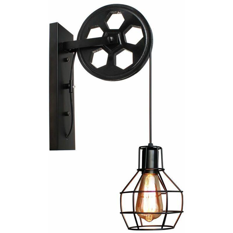 IDEGU Applique Murale Industrielle, iDEGU Éclairage Mural Vintage Poulie Lampe de Mur