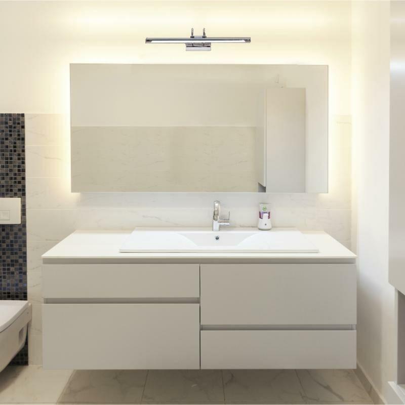 SILAMP Applique Murale Salle de Bain Design LED IP44 12W - Blanc Neutre 4000K - 5500K