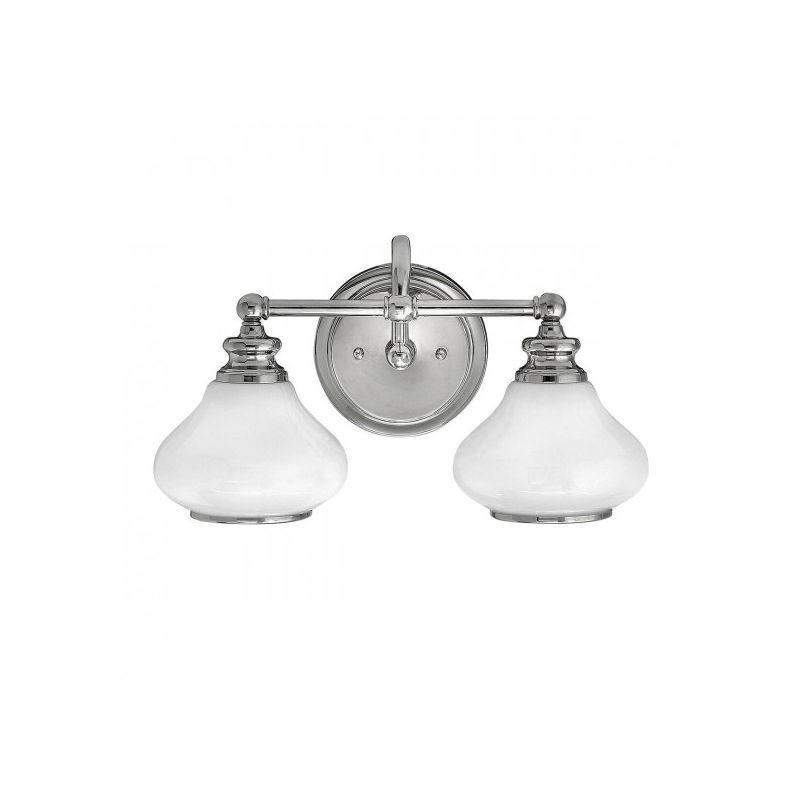 ELSTEAD Applique salle de bain Ainsley, chrome poli, verre opale, 2 LED