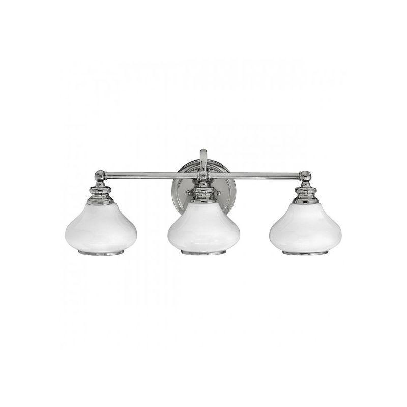 ELSTEAD Applique salle de bain Ainsley, chrome poli, verre opale, 3 LED