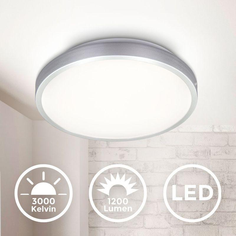 B.K.LICHT Plafonnier LED plafonnier finition titane platine LED 12W 1200lm blanc chaud
