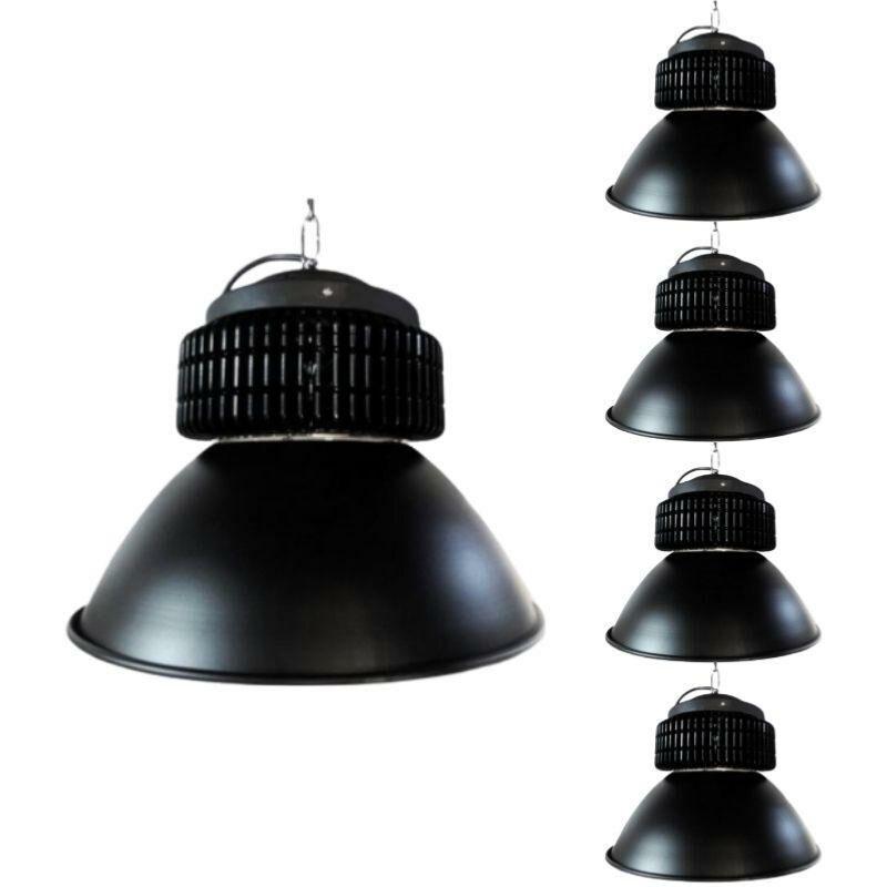 Silamp - Cloche LED Industrielle 150W 120° NOIR (Pack de 5) - Blanc Neutre