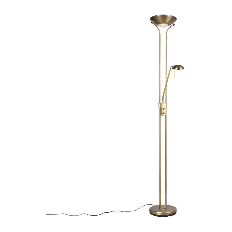 Qazqa - Lampadaire en bronze avec lampe de lecture avec LED et variateur - Diva