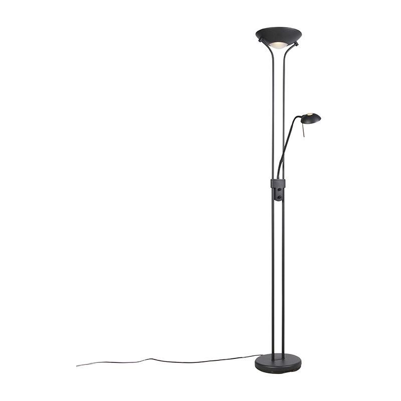 QAZQA Lampadaire noir avec lampe de lecture avec LED et variateur - Diva 2 Qazqa
