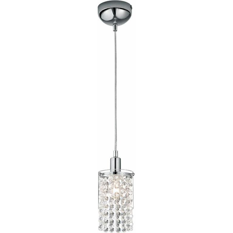 ETC-SHOP Lampe suspendue cristal pendentif verre chrome plafonnier lampe de réalité dans