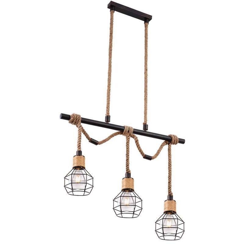 Globo - Plafonnier treillis luminaire éclairage vintage corde de chanvre salon