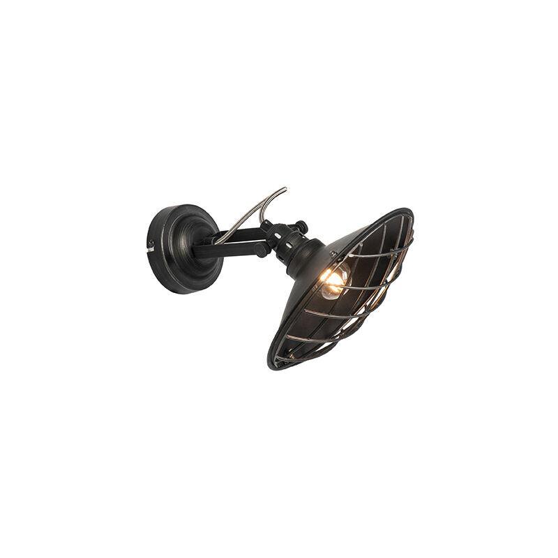 QAZQA Applique industrielle noire inclinable - Pekka Qazqa Rustique Cage Lampe