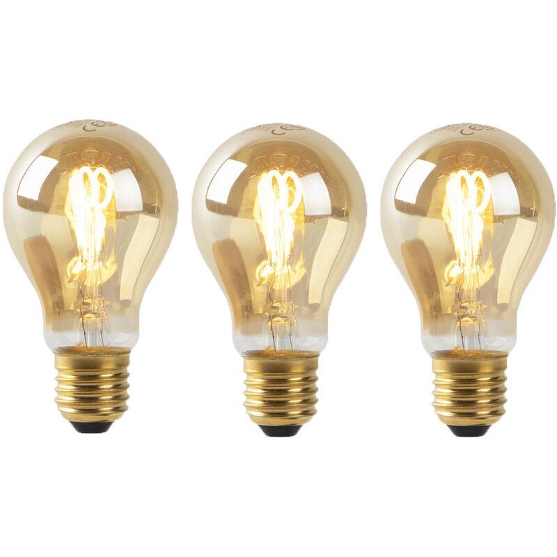 LUEDD Lot de 3 E27 LED filament spiralé doré A60 2W 90 lm 2200K - Luedd