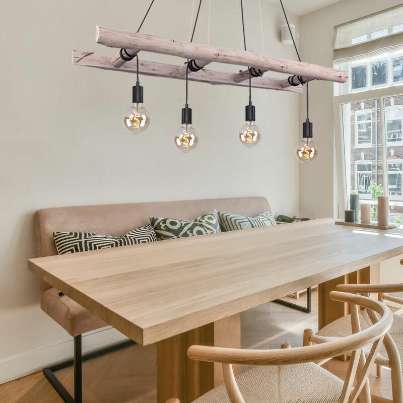 ETC-SHOP Plafonnier à suspension pendulaire FILAMENT en bois avec échelle, lampe à