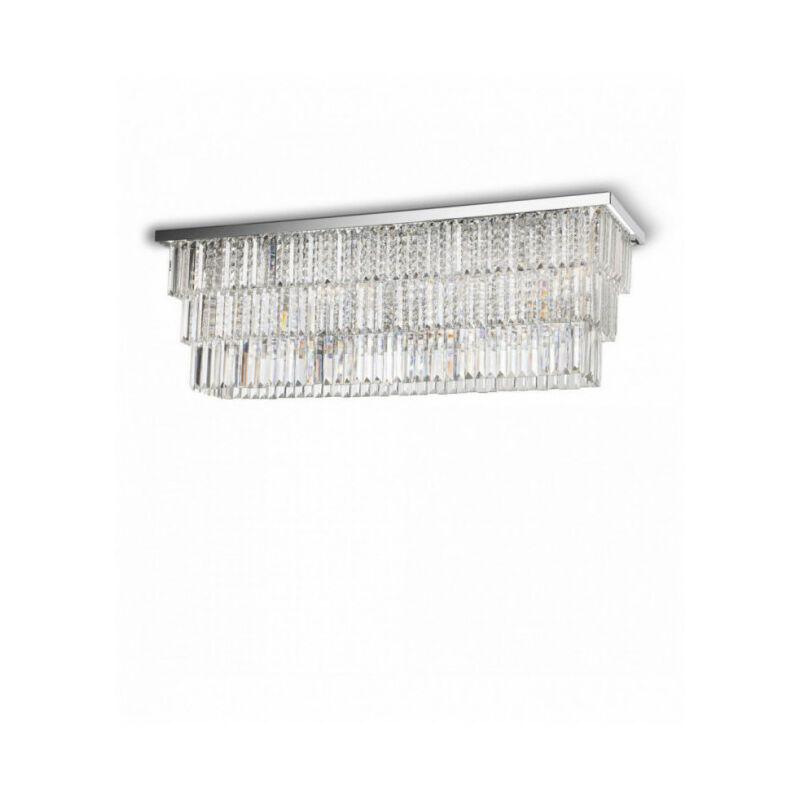 Ideal Lux - Plafonnier Chrome en cristal MARTINEZ 8 ampoules