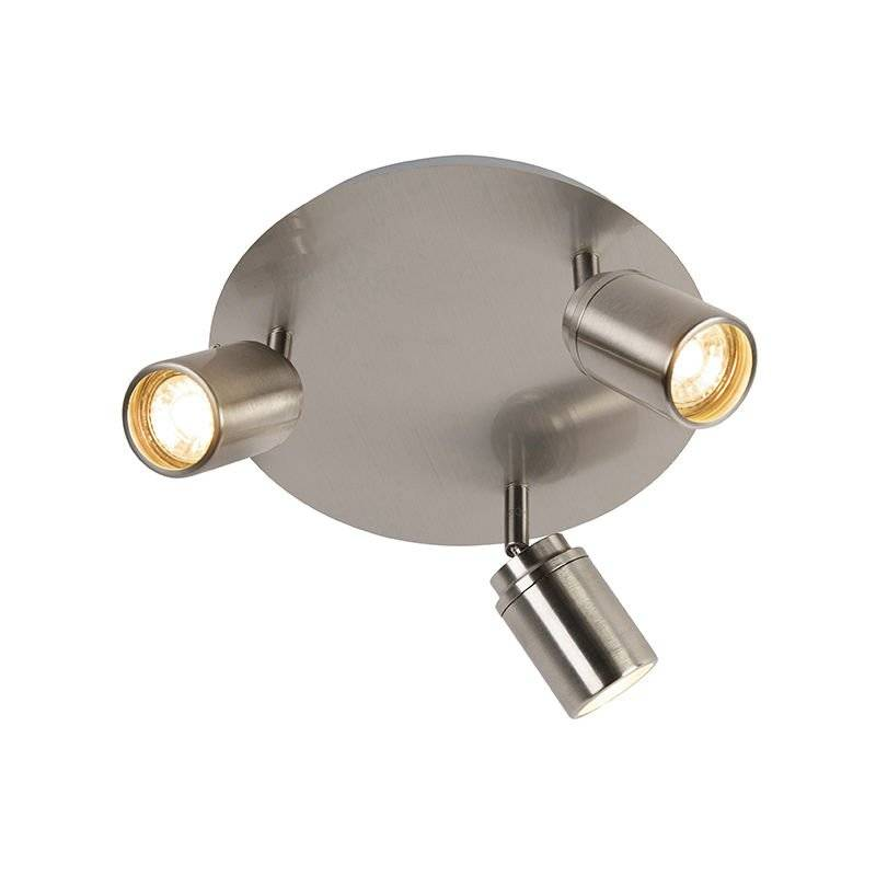 QAZQA Spot de Plafond de salle de bain Moderne en acier 3 lumières IP44 - Ducha Qazqa